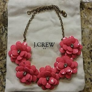 """J. CREW Pink Flower Necklace Gold Chain 20"""" Pouch"""